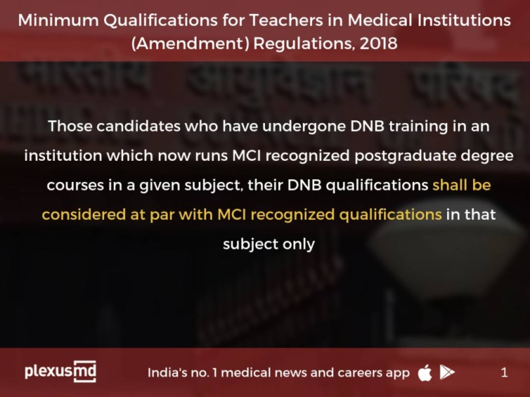 MD-DNB Equivalence: MCI releases Minimum Qualifications for
